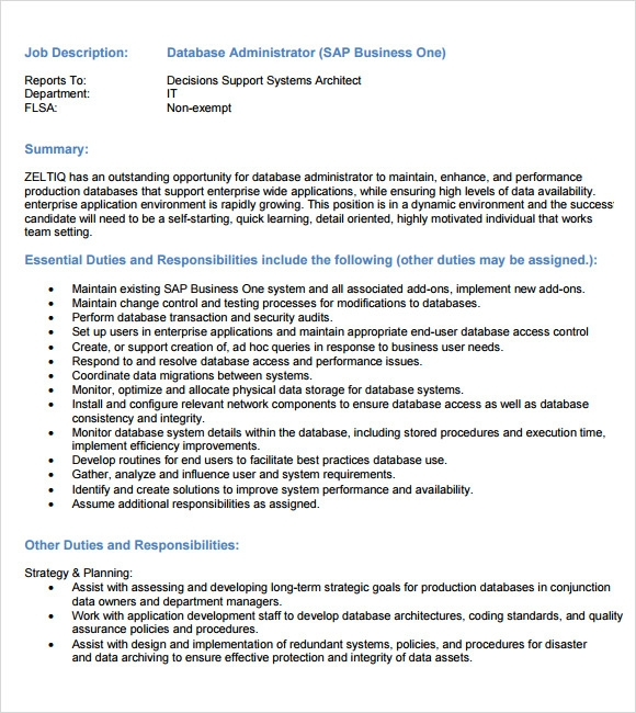 database administrator description administrator