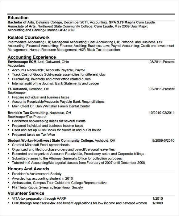 Sample Accounting Resume 6 Documents in PDF – Sample Accounting Resume