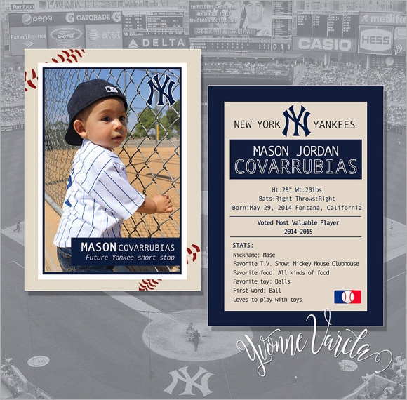 Custom Card Template  Baseball Trading Card Template Free