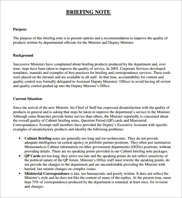 Sample Briefing Note   Documents In Pdf Word