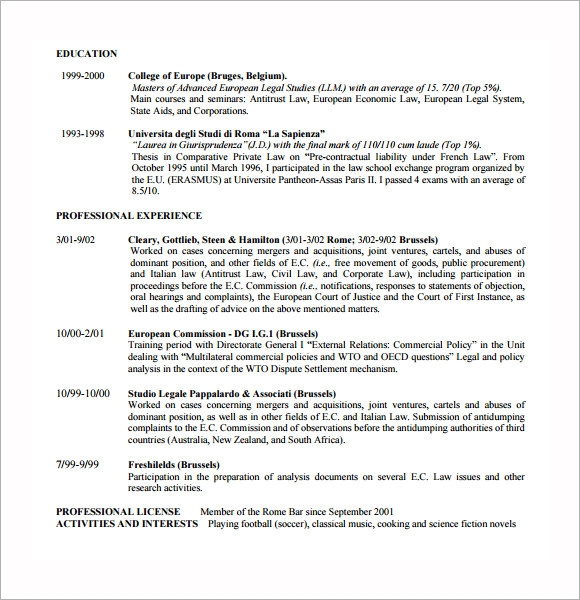 sample lawyer resume template - Lawyer Resume Template Word
