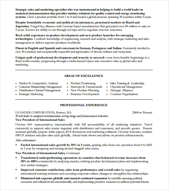 sample marketing resume template