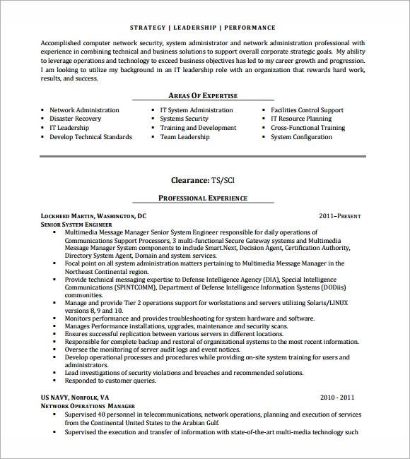 Network Engineer Resume Templates  Download Documents In Pdf