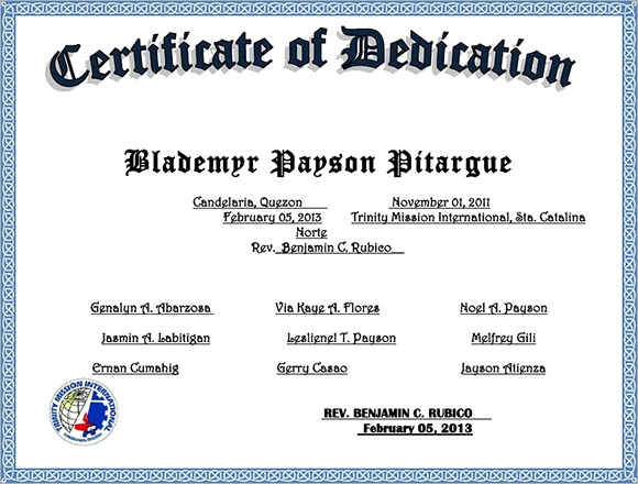 Baby Dedication Certificate   Download Free Documents In Pdf