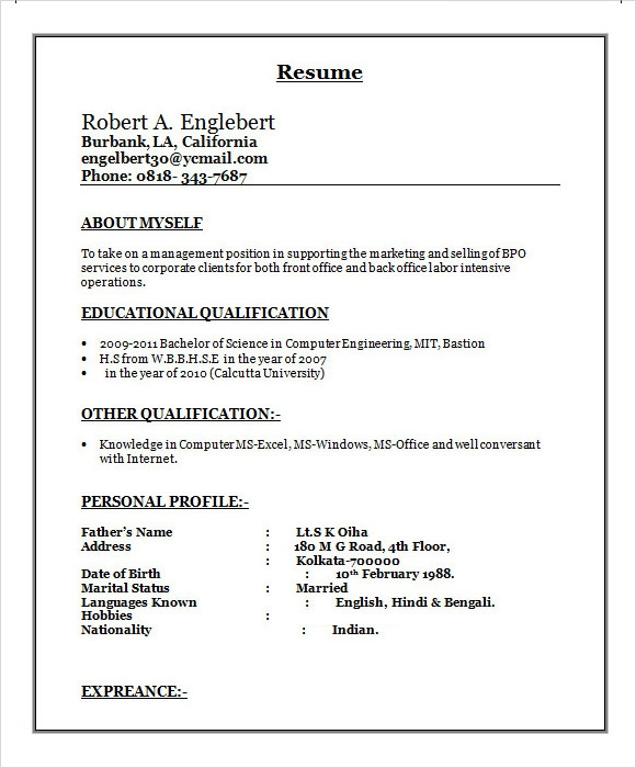 Resume For Bpo Industry Sample Resume Template Free