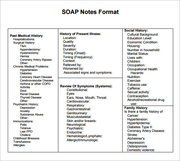 Sample Soap Note   Documents In Word Pdf