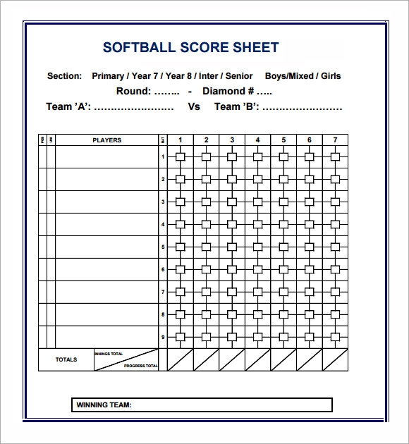 Softball baseball score sheets rachael edwards for Softball scorecard template