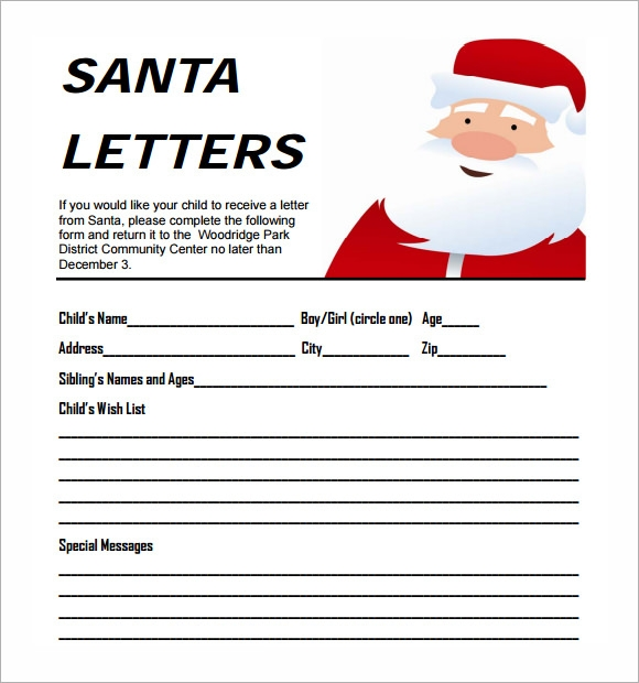 Cover letter to santa