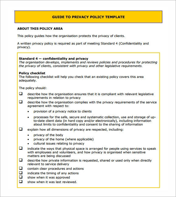 Free Privacy Notice Template - Customer privacy policy template