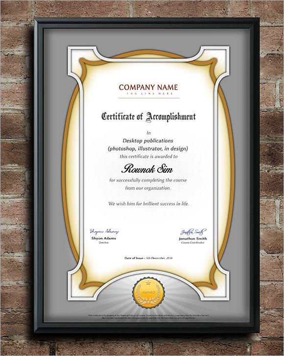 professional certificate templates .