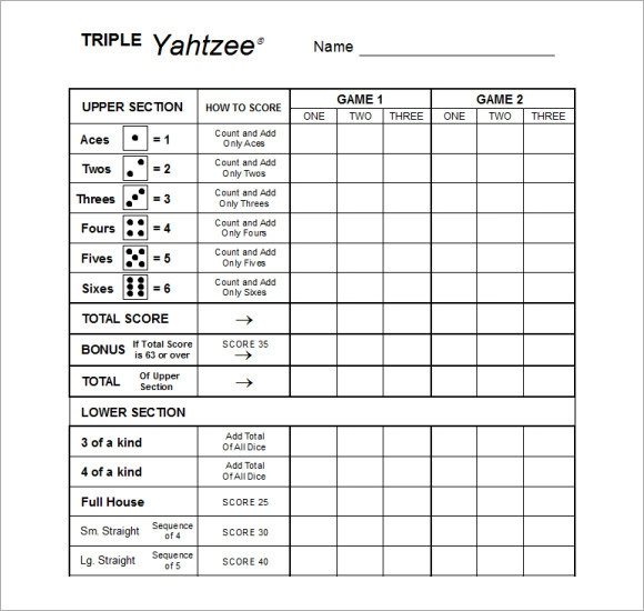 Sample Yahtzee Score Sheet Template - 4+ Free Documents Download