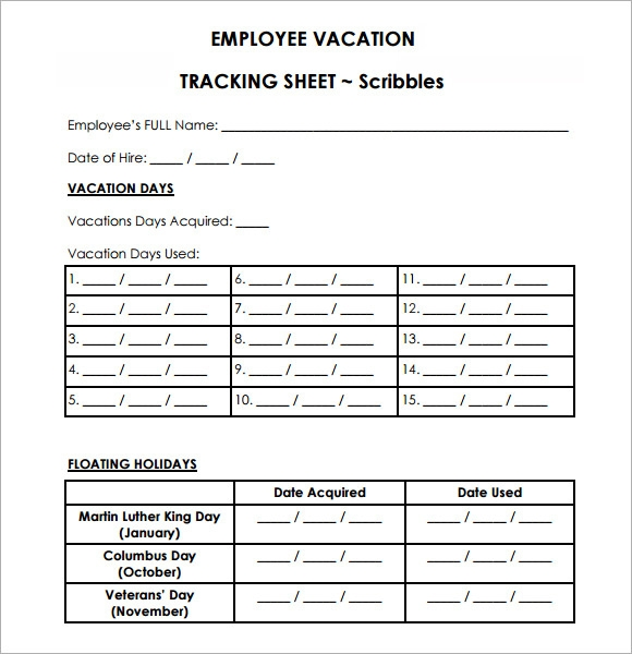 sample vacation tracking