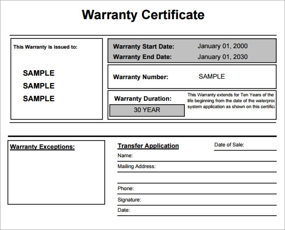 7 sample warranty certificate templates to download sample templates warranty certificate for product yelopaper Images