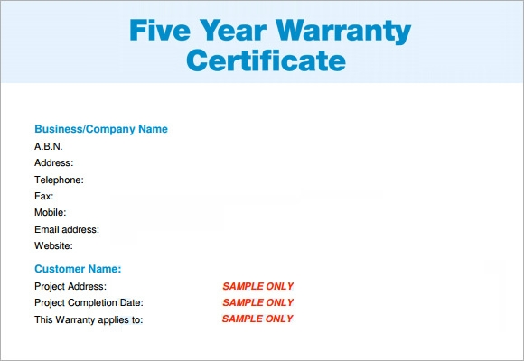 Warranty template word insrenterprises warranty template word yadclub Image collections