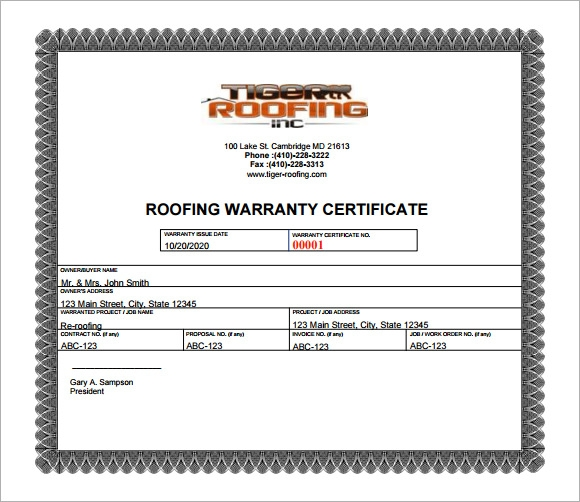 roofing warranty certificate template free 7 sample warranty certificate templates to download