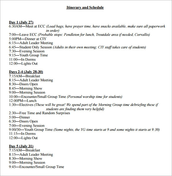 9  weekly itinerary samples