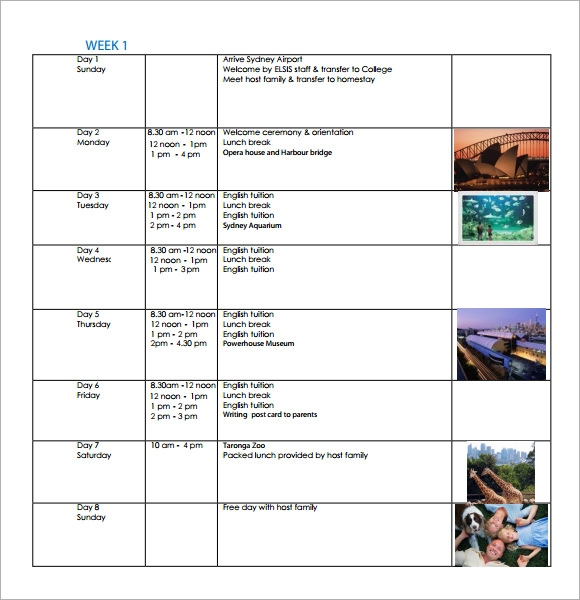 free 8  weekly itinerary samples in pdf