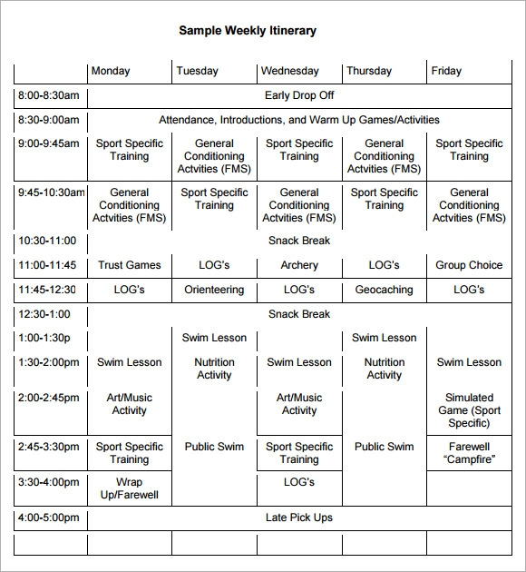weekly itinerary pdf
