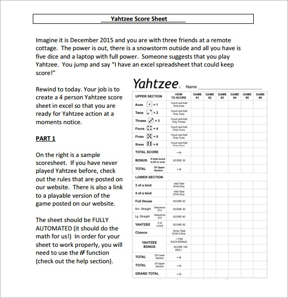 Sample Yahtzee Score Sheet Template   Free Documents Download