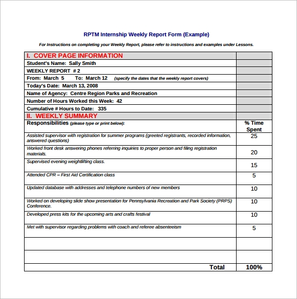 Sample Weekly Report Template 8 Free Documents in PDF – Sample of Weekly Report