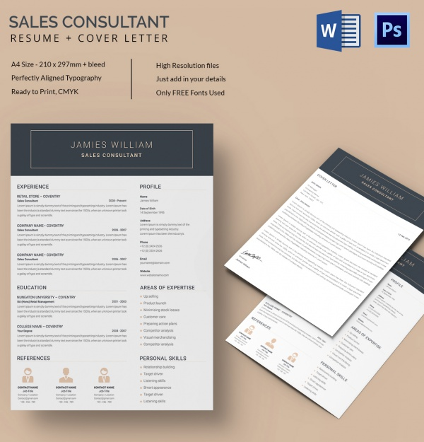 Editable Sales Consultant Resume Template In Word And PSD Format  Consultant Resume