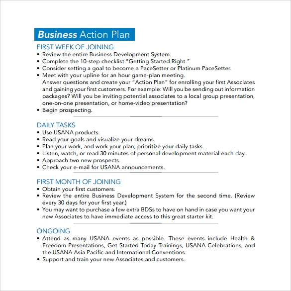 Sample Business Action Plan 4 Documents in Word PDF – Daily Action Plan Template
