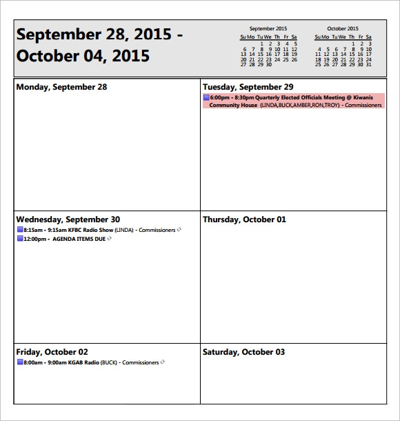 Sample Weekly Agenda - 6+ Documents In Pdf, Word