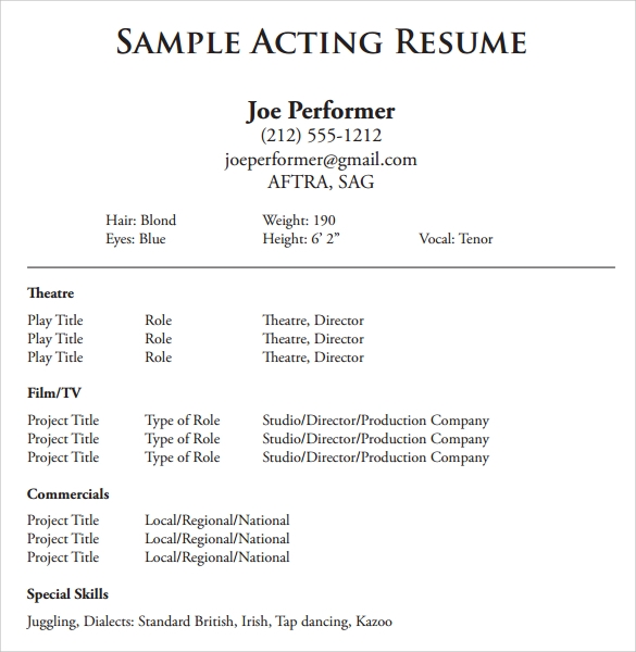 Sample Acting Resume 6 Documents in PDF Word