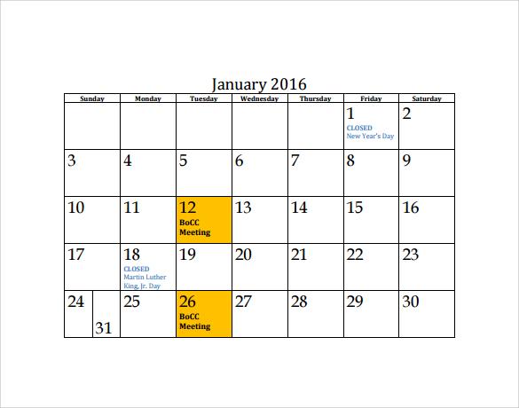 Agenda Calendar Template – 7+ Free Samples , Examples , Format