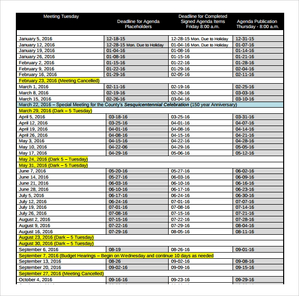 agenda calendar template