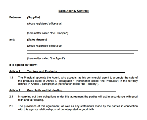 Sales Agency Contract  Agent Agreement Template Free