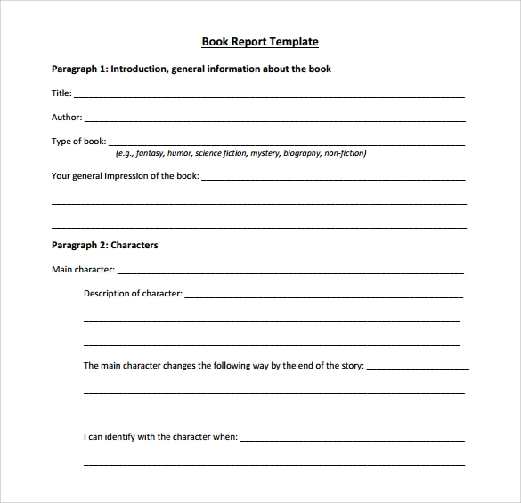 Printable Book Report Template  Printable Book Report Forms