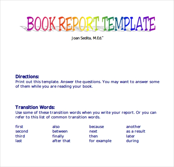 9 Book Report Templates Free Samples Examples Format – Sample Book Summary Template