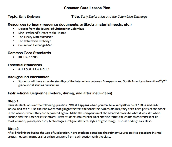 9 common core lesson plan samples sample templates for Lesson plan template using common core standards