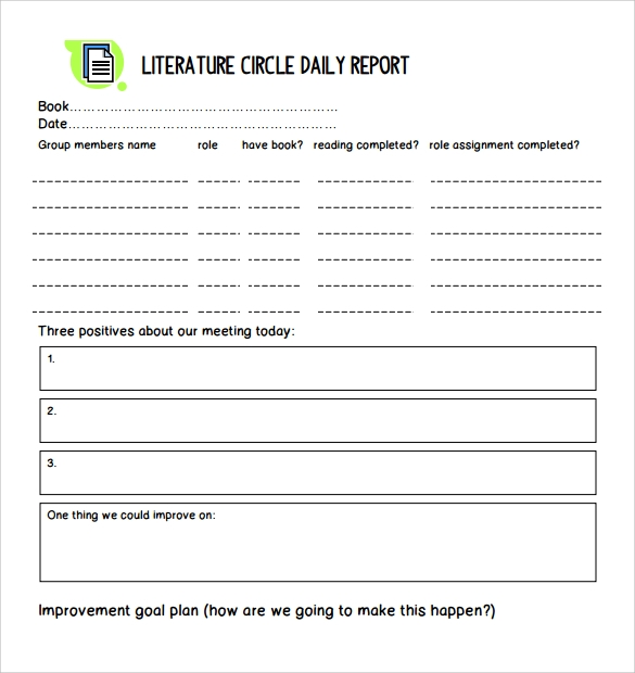 literature circle daily report