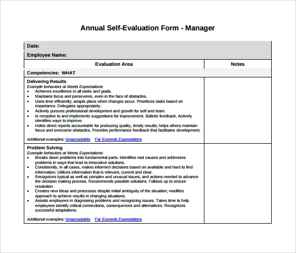 Sample Manager Evaluation 6 Documents in PDF Word – Sample Manager Evaluation