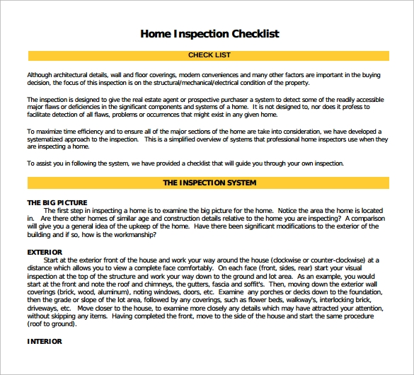14+ Home Inspection Checklists – Free Sample, Example, Format