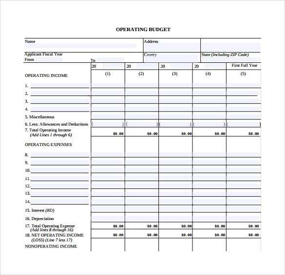 Sample Operating Budget   Documents In  Word