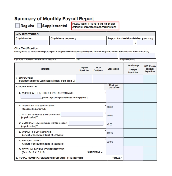 High Quality Monthly Payroll Report Template On Monthly Report Format