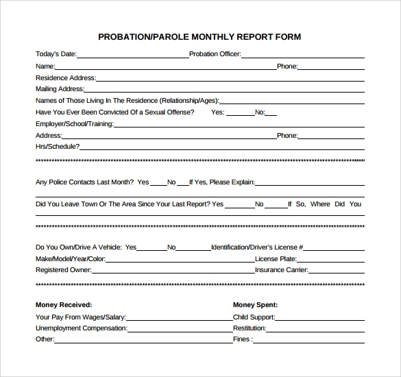 probation monthly report form