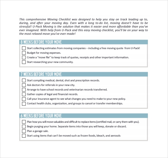 Moving Checklist Templates Sample Templates - Moving estimate template