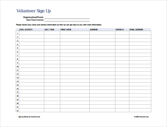 Volunteer Sign Up Sheet  Contact Info Sheet Template