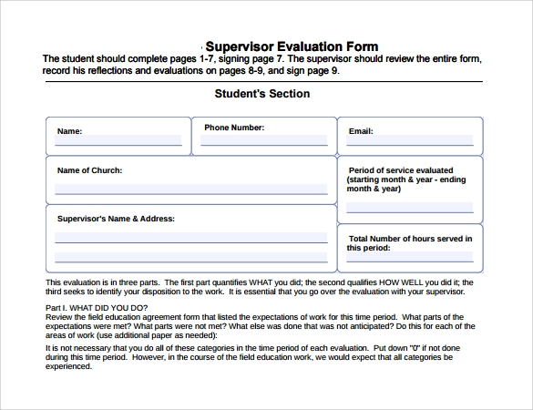 Sample Supervisor Evaluation 10 Example Format – Supervisor Evaluation