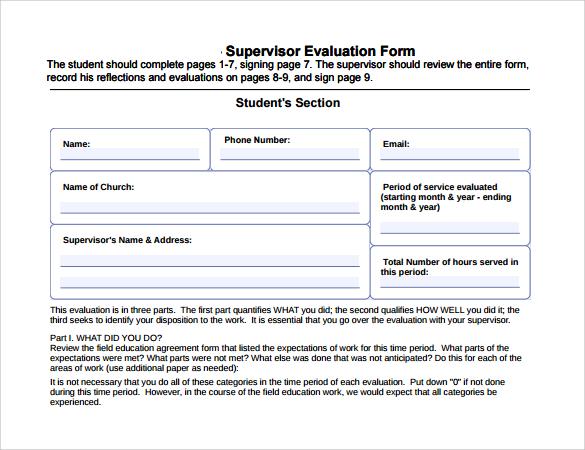 supervisor evaluation form%ef%bb%bf