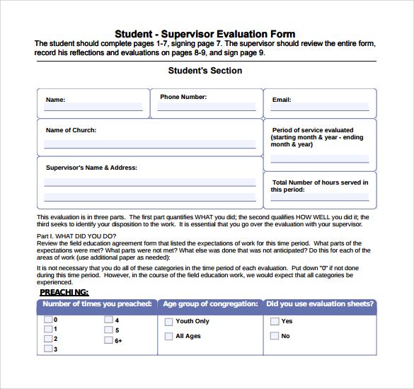 student supervisor evaluation form