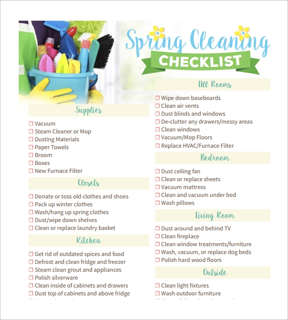 printable spring cleaning checklist template