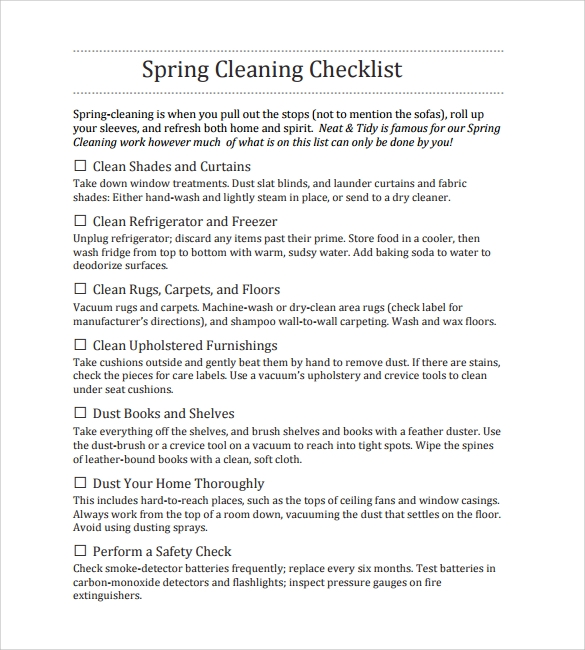 free download spring cleaning checklist