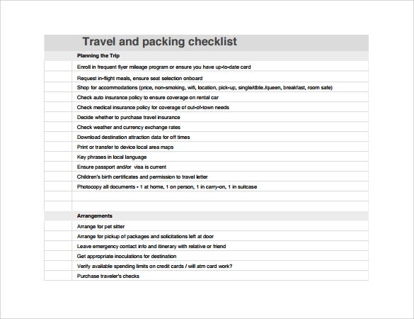 Sample Travel Checklist – 8+ Example, Format