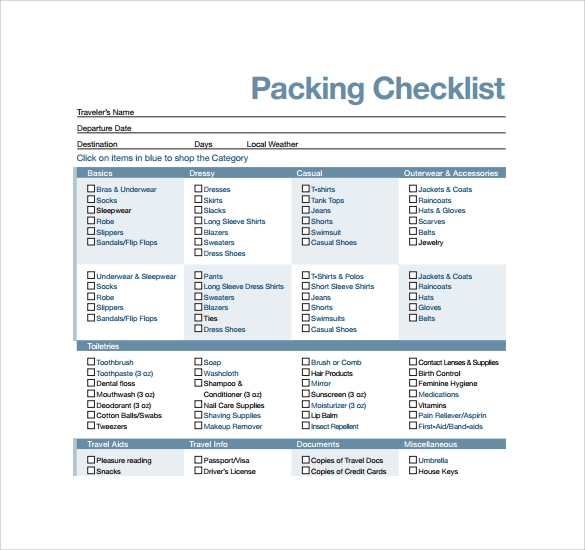 Sample Travel Checklist Sample Packing List Acis Educational Tours