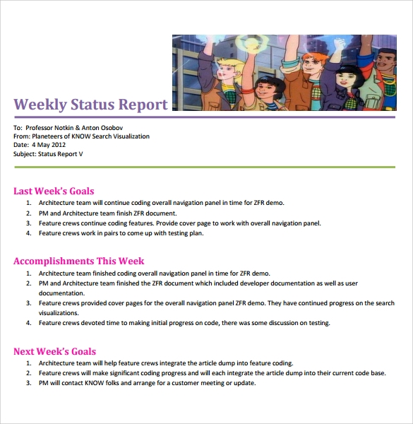 8+ Sample Weekly Status Reports  Sample Templates. Simple Project Plan Template. Parris Island Marine Graduation. Create Medical Invoice Template Free. The Graduate Hotel Lincoln Ne. Game Design Document Template. Book Cover Drawing. Quality Control Plans Template. Independence Day Sale